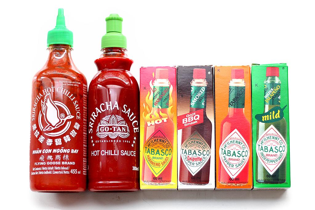 Tabasco versus Sriracha - Lauriekoek.nl